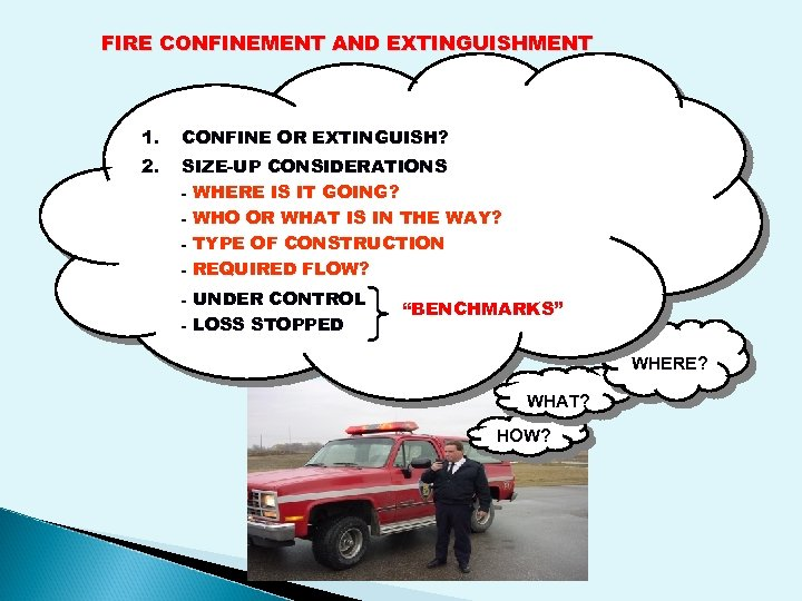 FIRE CONFINEMENT AND EXTINGUISHMENT 1. CONFINE OR EXTINGUISH? 2. SIZE-UP CONSIDERATIONS - WHERE IS