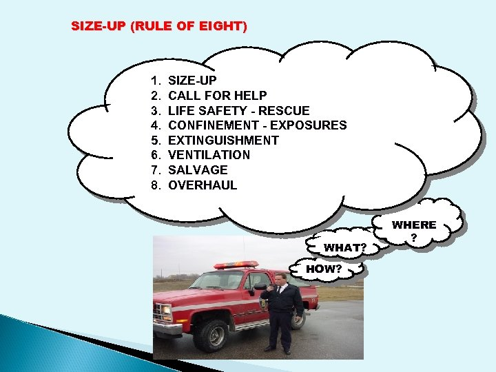 SIZE-UP (RULE OF EIGHT) 1. 2. 3. 4. 5. 6. 7. 8. SIZE-UP CALL