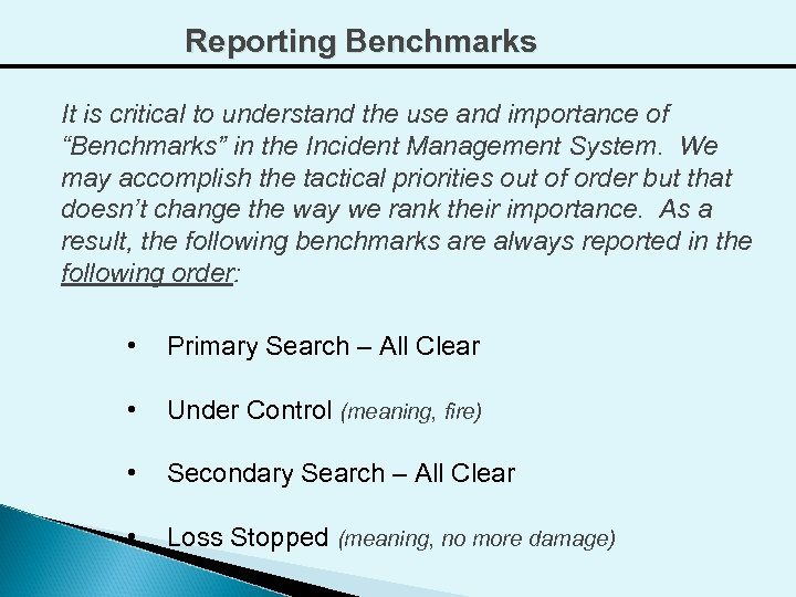 """Reporting Benchmarks It is critical to understand the use and importance of """"Benchmarks"""" in"""