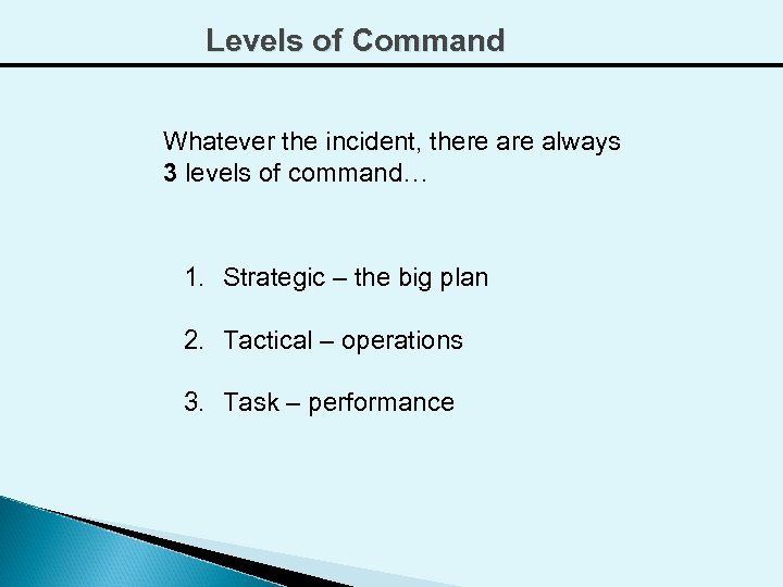 Levels of Command Whatever the incident, there always 3 levels of command… 1. Strategic