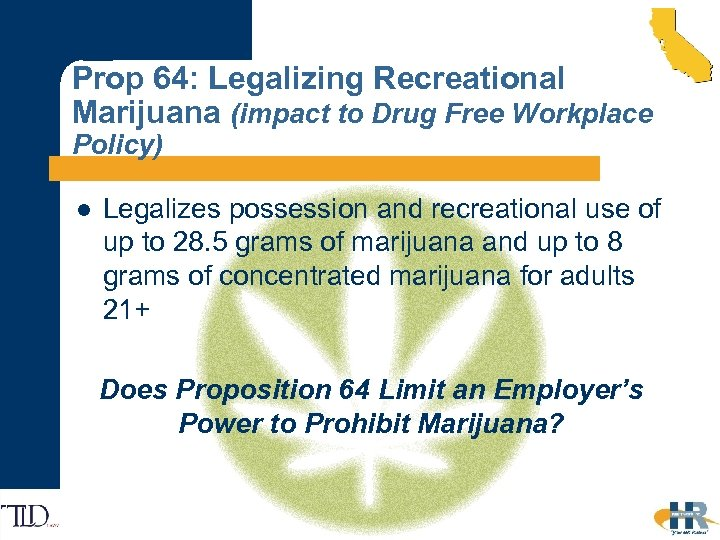 Prop 64: Legalizing Recreational Marijuana (impact to Drug Free Workplace Policy) l Legalizes possession