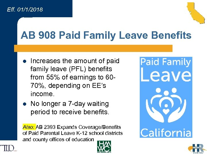 Eff. 01/1/2018 AB 908 Paid Family Leave Benefits l l Increases the amount