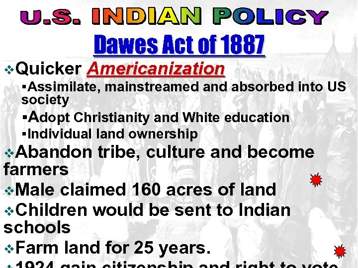 Dawes Act of 1887 v. Quicker Americanization §Assimilate, mainstreamed and absorbed into US society