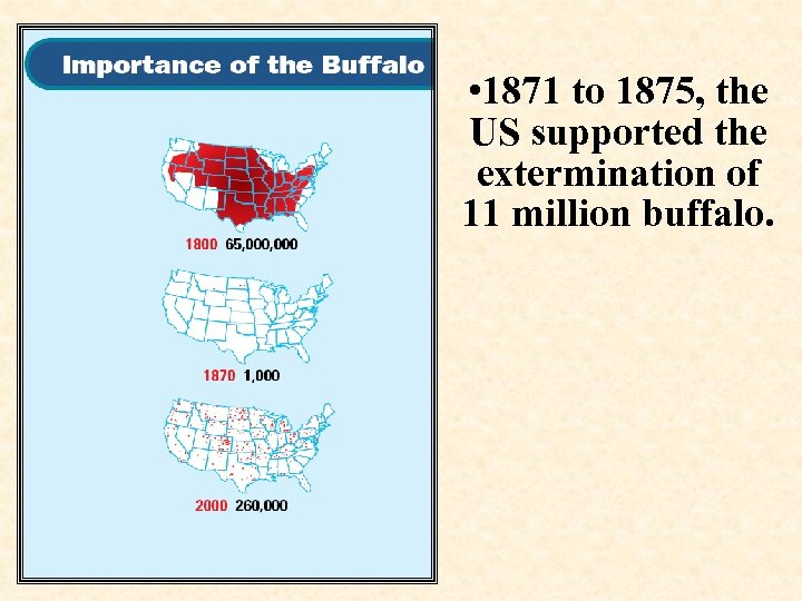 • 1871 to 1875, the US supported the extermination of 11 million buffalo.