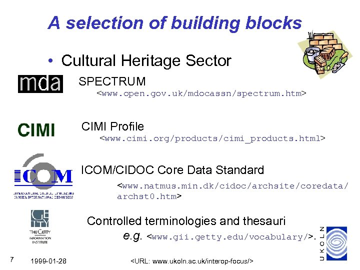 A selection of building blocks • Cultural Heritage Sector SPECTRUM <www. open. gov. uk/mdocassn/spectrum.