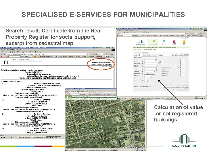 SPECIALISED E-SERVICES FOR MUNICIPALITIES Search result: Certificate from the Real Property Register for social