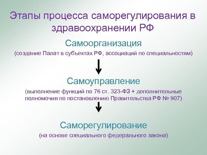 Этапы процесса саморегулирования в здравоохранении РФ Самоорганизация (создание Палат в субъектах РФ, ассоциаций по