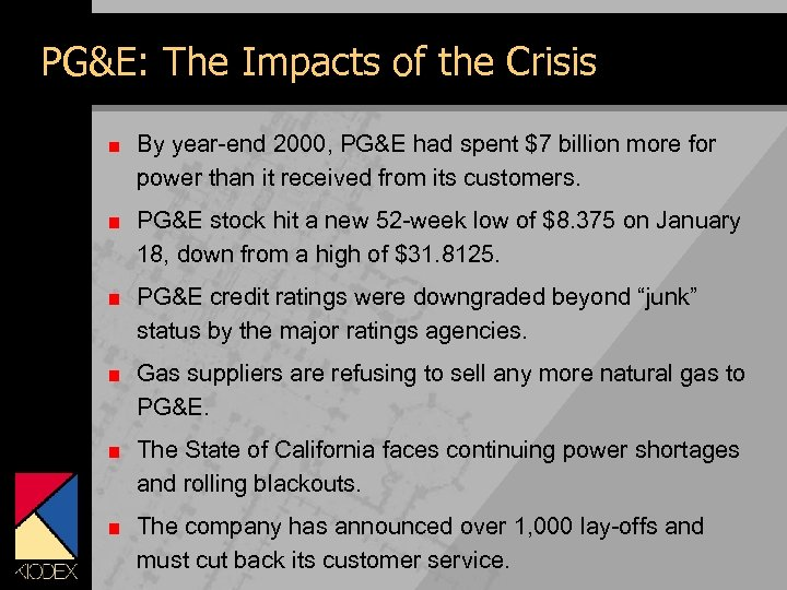 PG&E: The Impacts of the Crisis By year-end 2000, PG&E had spent $7 billion
