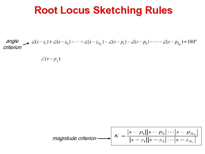 Root Locus Sketching Rules angle criterion magnitude criterion