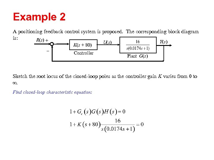 Example 2 A positioning feedback control system is proposed. The corresponding block diagram is:
