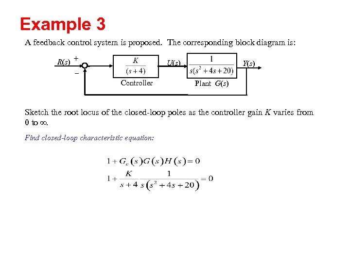 Example 3 A feedback control system is proposed. The corresponding block diagram is: R(s)