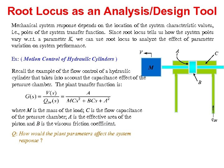 Root Locus as an Analysis/Design Tool Mechanical system response depends on the location of
