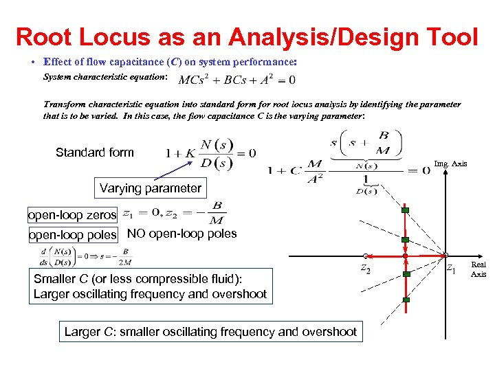 Root Locus as an Analysis/Design Tool • Effect of flow capacitance (C) on system
