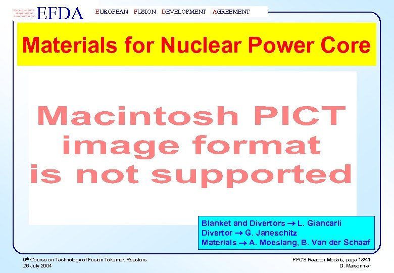 EFDA EUROPEAN FUSION DEVELOPMENT AGREEMENT Materials for Nuclear Power Core Blanket and Divertors L.
