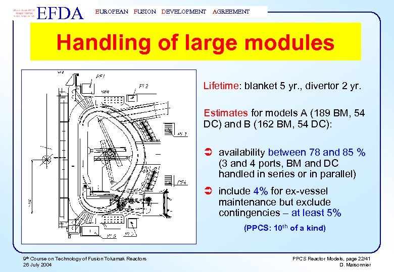 EFDA EUROPEAN FUSION DEVELOPMENT AGREEMENT Handling of large modules Lifetime: blanket 5 yr. ,