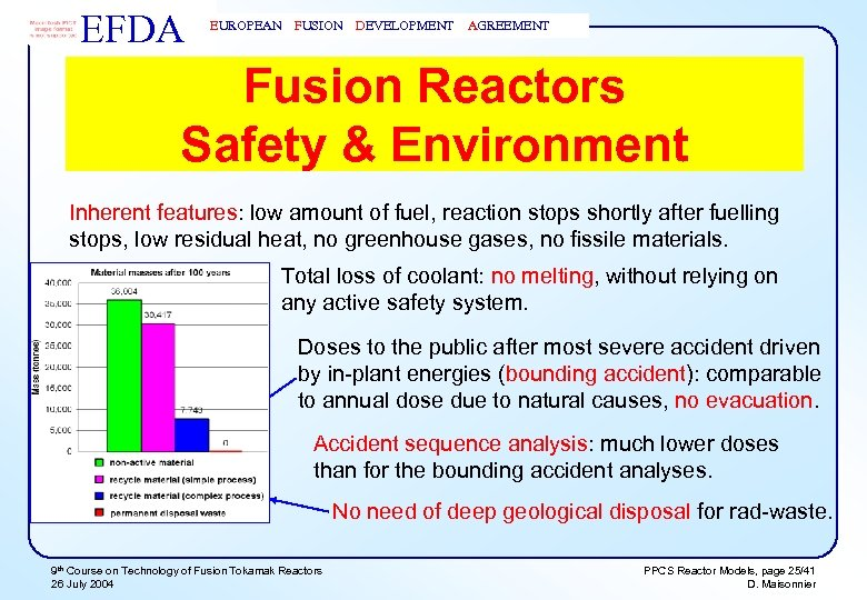 EFDA EUROPEAN FUSION DEVELOPMENT AGREEMENT Fusion Reactors Safety & Environment Inherent features: low amount