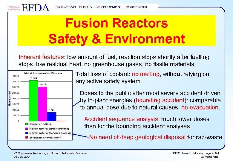 EFDA EUROPEAN FUSION DEVELOPMENT AGREEMENT Fusion Reactors Safety & Environment Inherent features: low amount