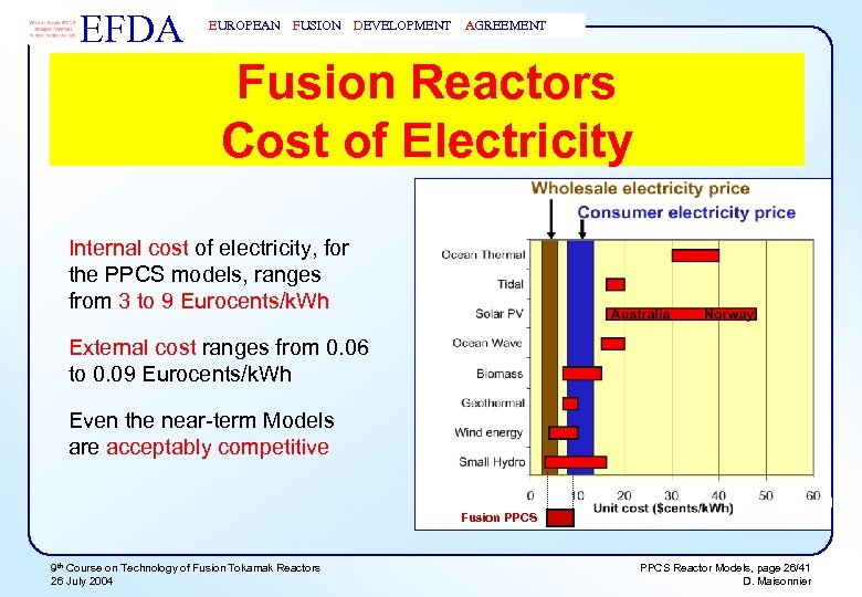 EFDA EUROPEAN FUSION DEVELOPMENT AGREEMENT Fusion Reactors Cost of Electricity Internal cost of electricity,