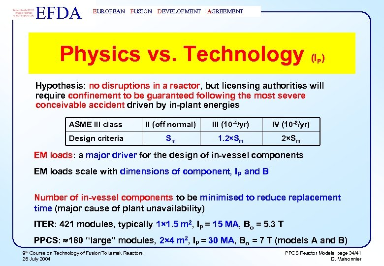 EFDA EUROPEAN FUSION DEVELOPMENT AGREEMENT Physics vs. Technology (I ) P Hypothesis: no disruptions