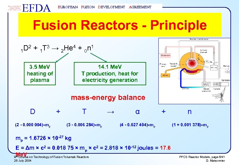 EFDA EUROPEAN FUSION DEVELOPMENT AGREEMENT Fusion Reactors - Principle D 2 + 1 T