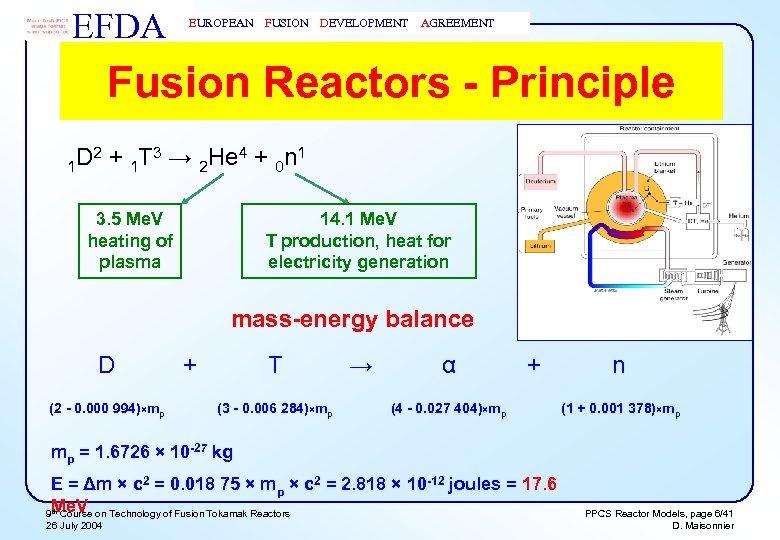 EFDA EUROPEAN FUSION DEVELOPMENT AGREEMENT Fusion Reactors - Principle D 2 + 1 T