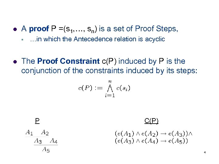 l A proof P =(s 1, …, sn) is a set of Proof Steps,