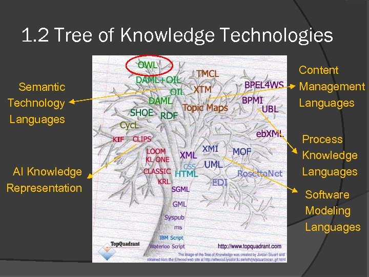 1. 2 Tree of Knowledge Technologies Semantic Technology Languages AI Knowledge Representation Content Management