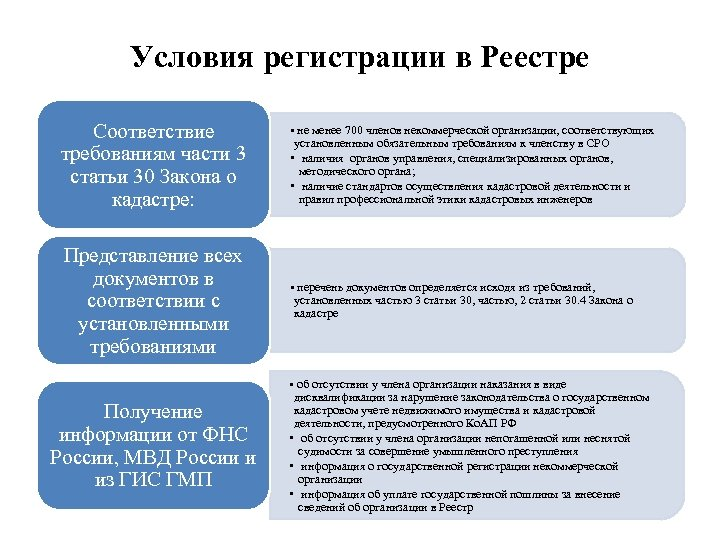Условия регистрации в Реестре Соответствие требованиям части 3 статьи 30 Закона о кадастре: Представление