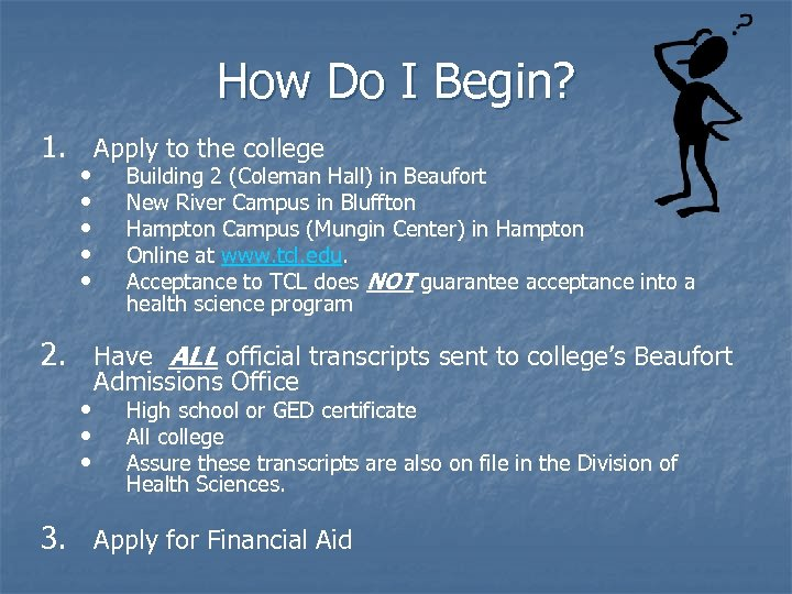 How Do I Begin? 1. Apply to the college • • • Building 2