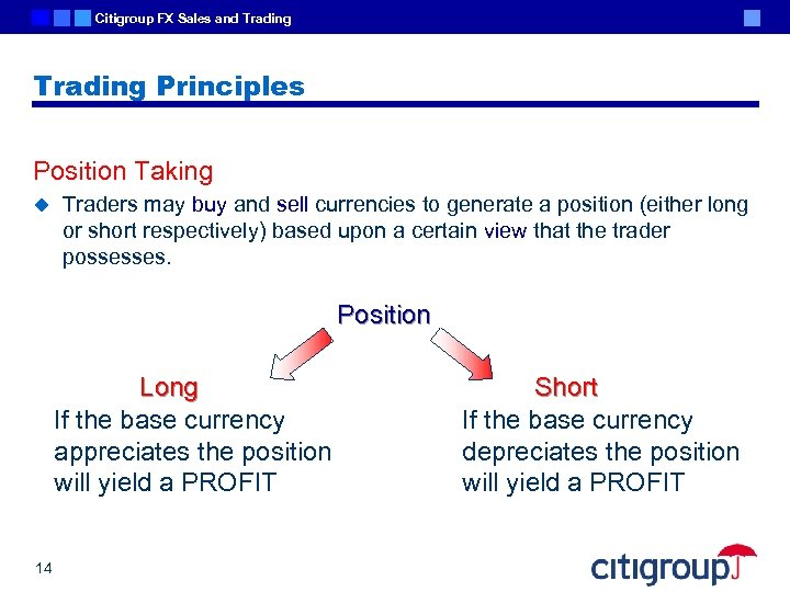 Citigroup FX Sales and Trading Principles Position Taking u Traders may buy and sell