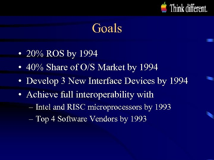 Goals • • 20% ROS by 1994 40% Share of O/S Market by 1994