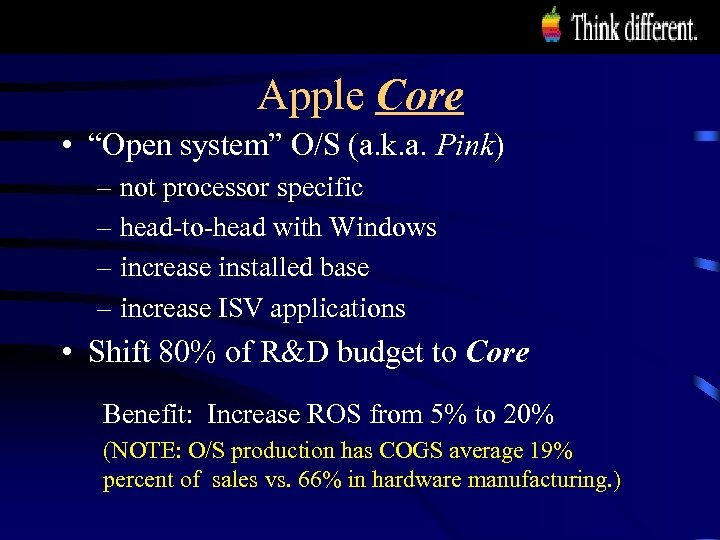 """Apple Core • """"Open system"""" O/S (a. k. a. Pink) – not processor specific"""
