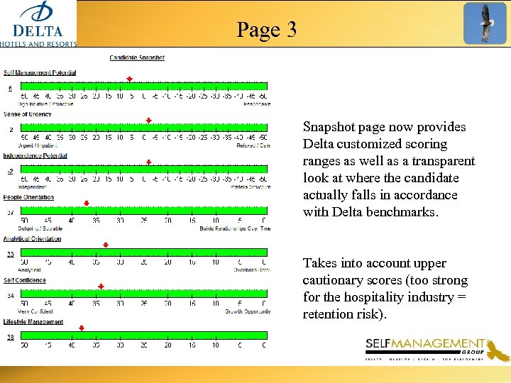 Page 3 Snapshot page now provides Delta customized scoring ranges as well as a