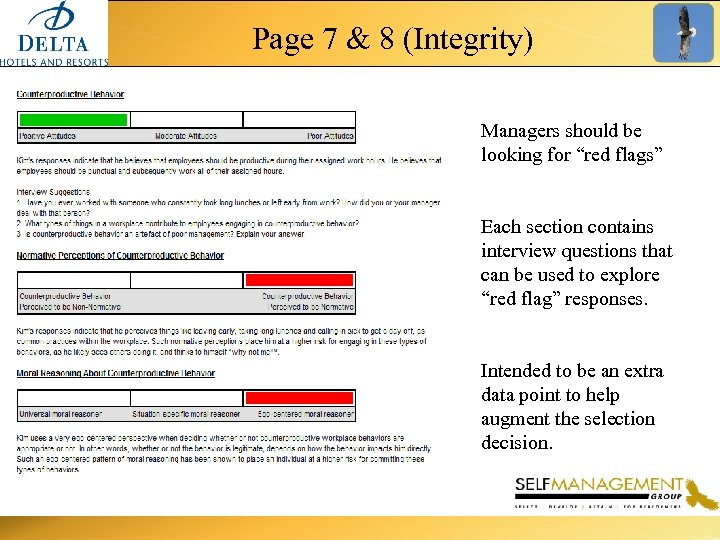 """Page 7 & 8 (Integrity) Managers should be looking for """"red flags"""" Each section"""