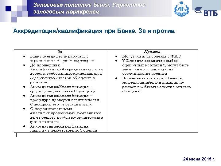 Залоговая политика банка. Управление залоговым портфелем Аккредитация/квалификация при Банке. За и против 24 июня