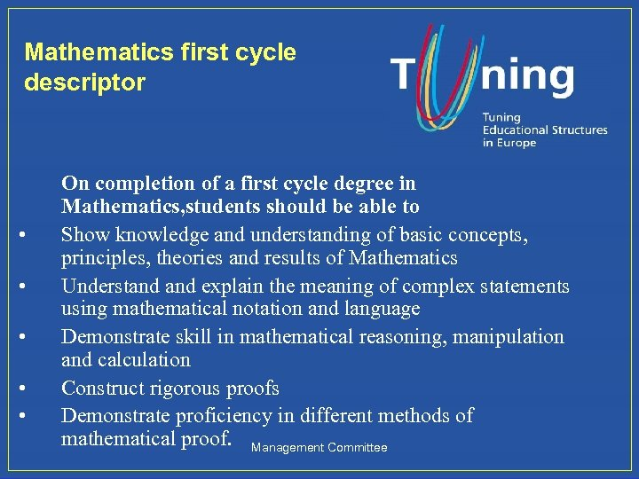 Mathematics first cycle descriptor • • • On completion of a first cycle degree