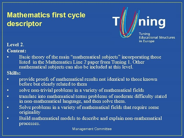 """Mathematics first cycle descriptor Level 2. Content: • Basic theory of the main """"mathematical"""