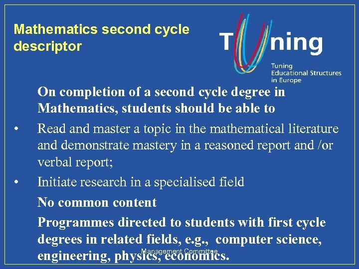 Mathematics second cycle descriptor • • On completion of a second cycle degree in