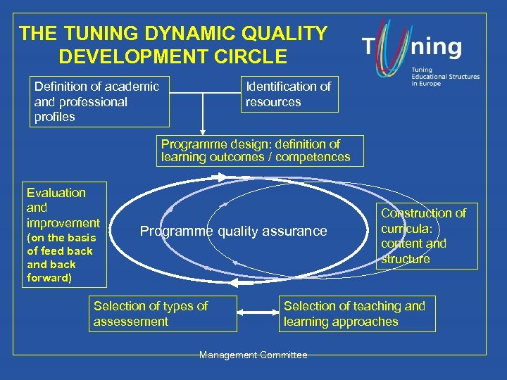 THE TUNING DYNAMIC QUALITY DEVELOPMENT CIRCLE Definition of academic and professional profiles Identification of