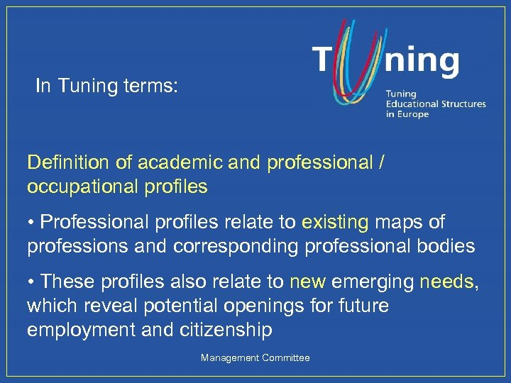 In Tuning terms: Definition of academic and professional / occupational profiles • Professional profiles