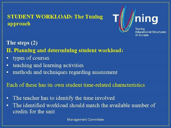 STUDENT WORKLOAD: The Tuning approach The steps (2) II. Planning and determining student workload: