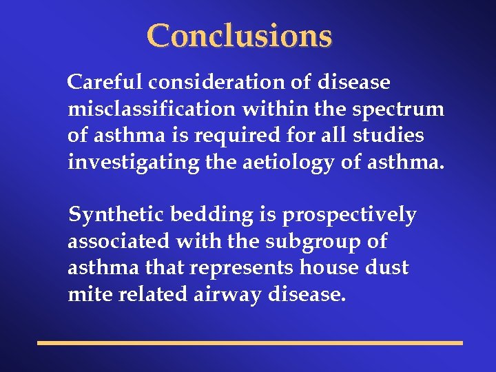 Conclusions Careful consideration of disease misclassification within the spectrum of asthma is required for
