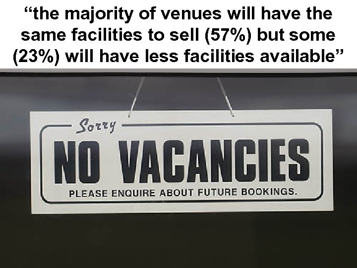 """""""the majority of venues will have the same facilities to sell (57%) but some"""