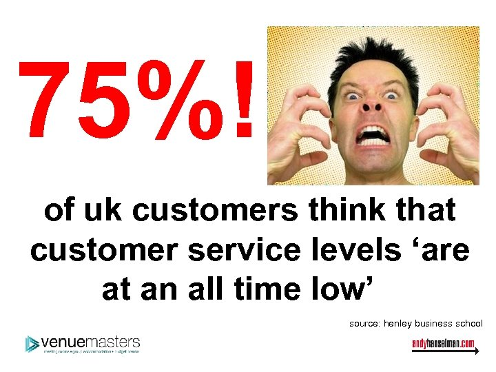 75%! of uk customers think that customer service levels 'are at an all time