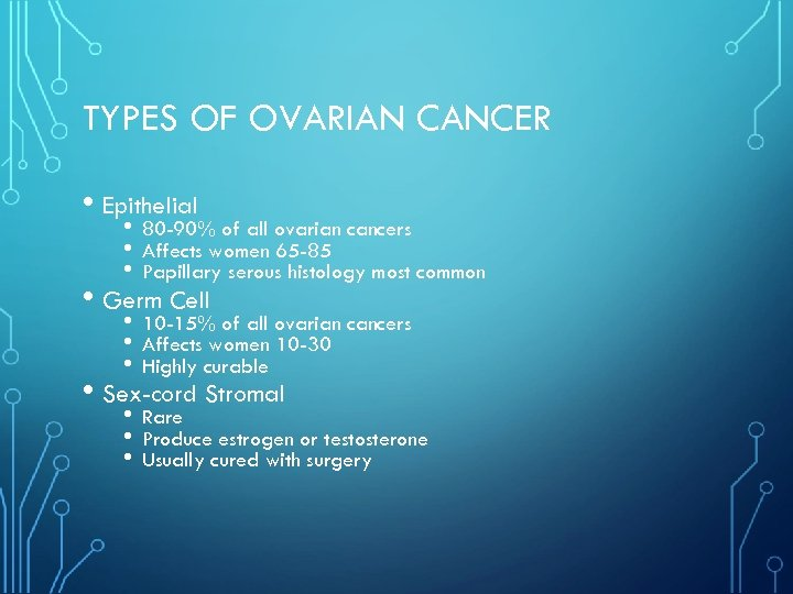 TYPES OF OVARIAN CANCER • Epithelial • • • 80 -90% of all ovarian