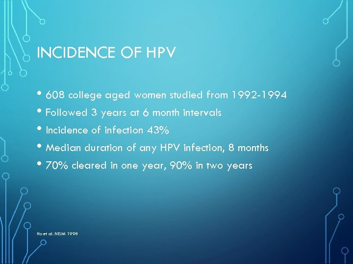 INCIDENCE OF HPV • 608 college aged women studied from 1992 -1994 • Followed