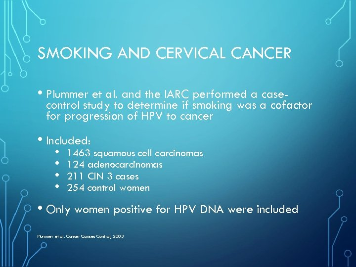 SMOKING AND CERVICAL CANCER • Plummer et al. and the IARC performed a case-