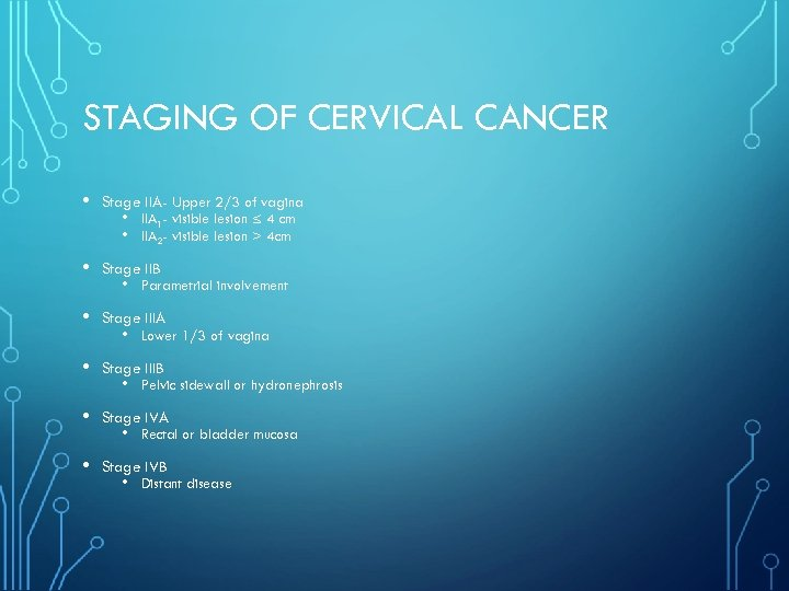 STAGING OF CERVICAL CANCER • Stage IIA- Upper 2/3 of vagina • Stage IIB