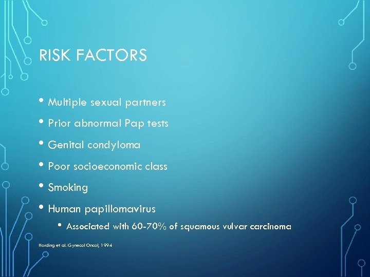 RISK FACTORS • Multiple sexual partners • Prior abnormal Pap tests • Genital condyloma