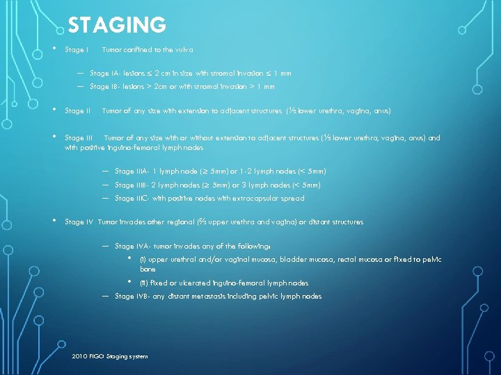 STAGING • Stage I – – Tumor confined to the vulva Stage IA- lesions